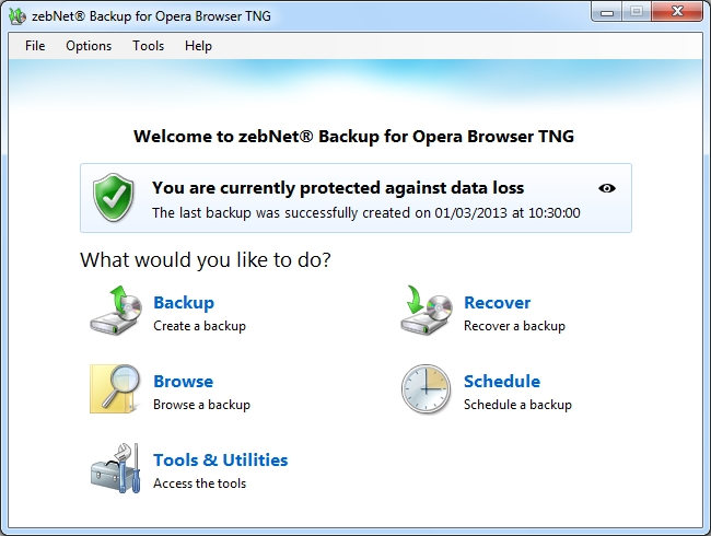 Click to view zebNet Backup for Opera Browser TNG 4.0.7.11 screenshot