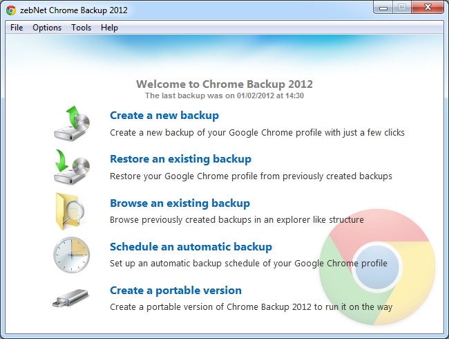 Click to view zebNet Chrome Backup 2012 screenshots