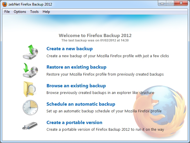 Click to view zebNet Firefox Backup 2012 screenshots
