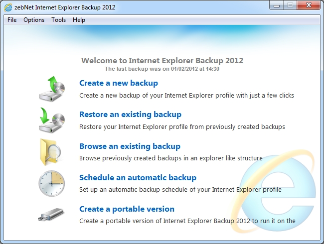 Click to view zebNet Internet Explorer Backup 2012 screenshots