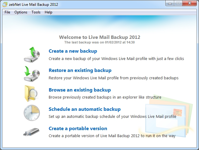Click to view zebNet Live Mail Backup 2012 screenshots