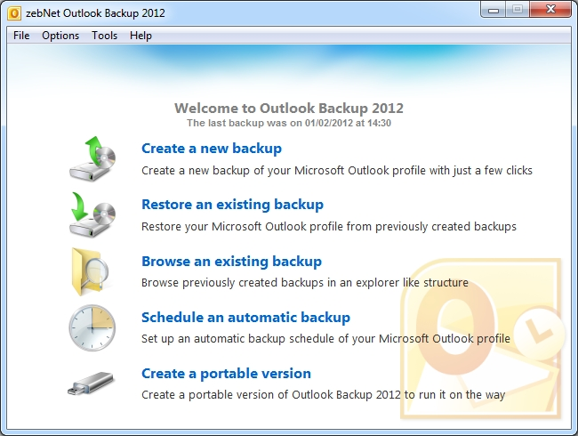 zebNet Outlook Backup 2012 Screen shot