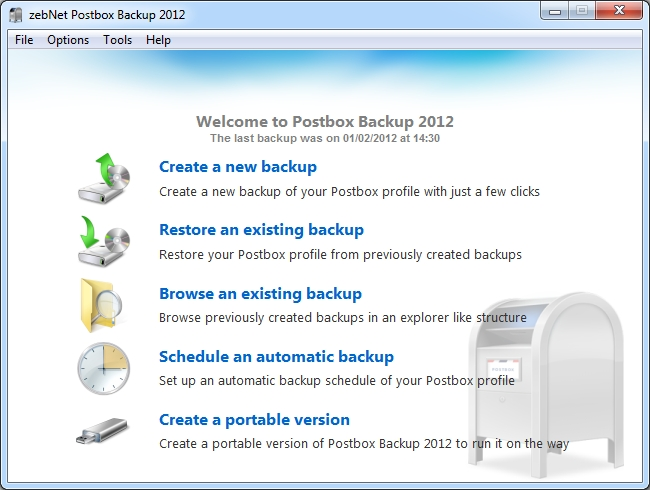 zebNet Postbox Backup 2012 Screen shot