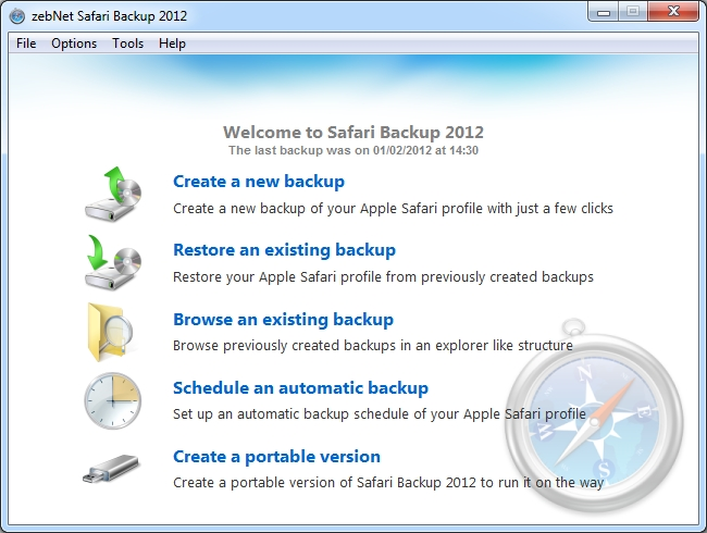 zebNet Safari Backup 2012 Screen shot