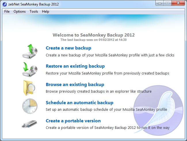 Click to view zebNet SeaMonkey Backup 2012 screenshots