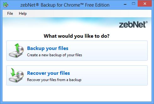 zebNet Backup for Chrome Free Edition full screenshot