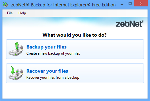 zebNet Backup for Internet Explorer Free Screen shot