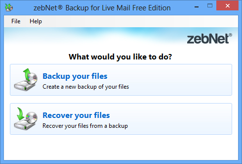 Click to view zebNet Backup for Live Mail Free Edition 1.0.0.0 screenshot