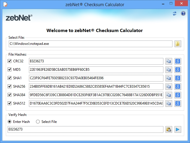 zebNet Checksum Calculator Screen shot