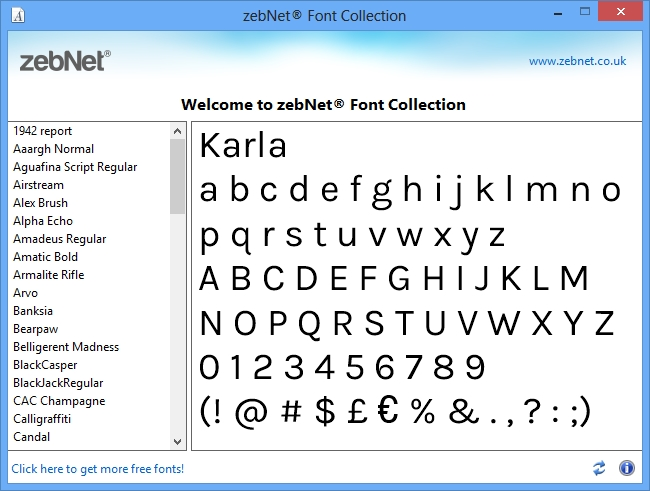 Click to view zebNet Font Collection screenshots