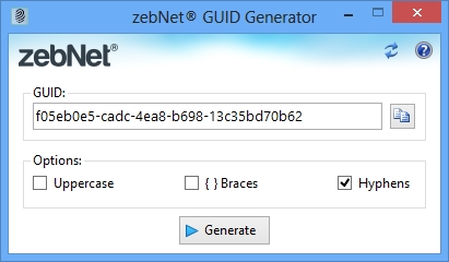 Click to view zebNet GUID Generator 2.0.0.0 screenshot