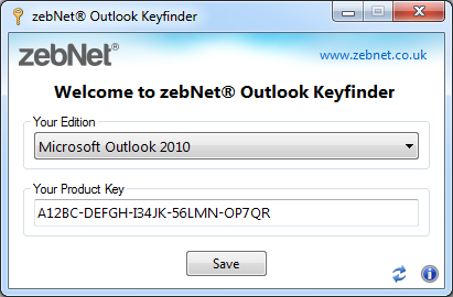 zebNet Outlook Keyfinder