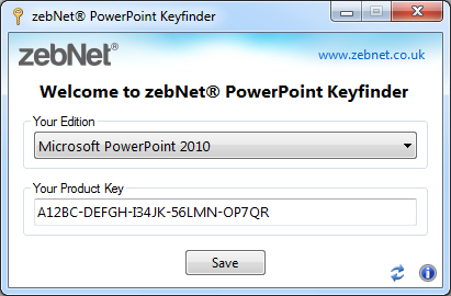 Click to view zebNet PowerPoint Keyfinder screenshots