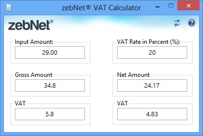 Click to view zebNet VAT Calculator screenshots