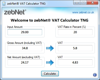zebNet VAT Calculator TNG