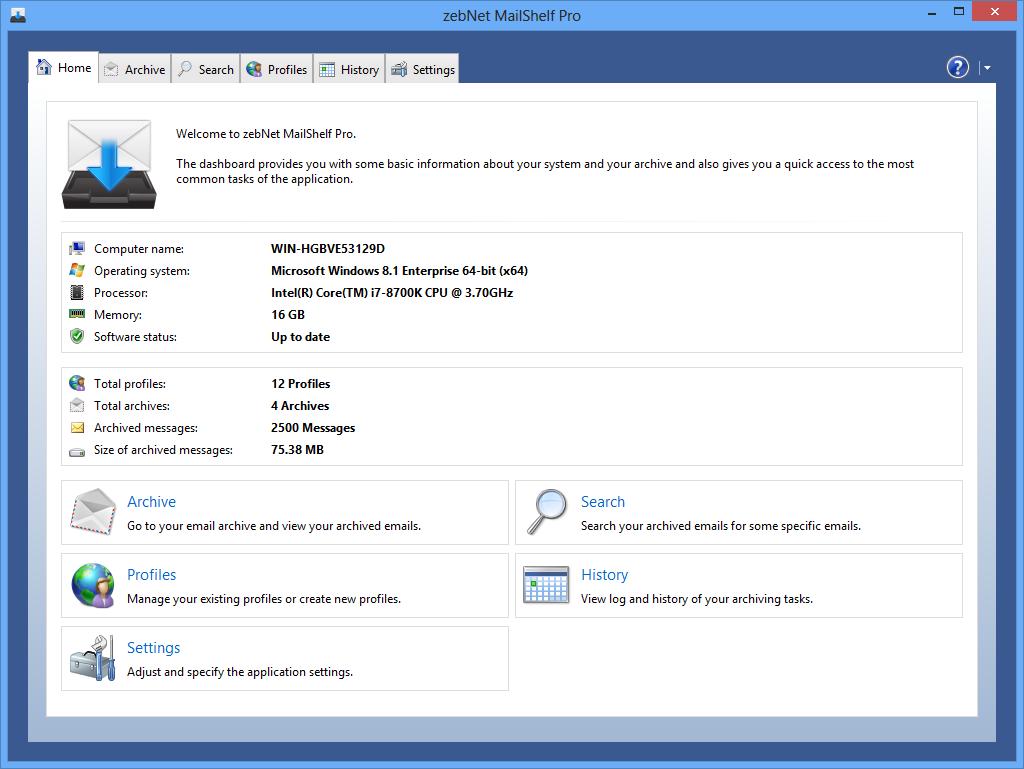 Screenshot of MailShelf Pro 1.1.8.10